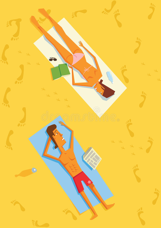 Man and Woman lying on a Beach. Man and Woman Lying in Sun on Beach Towels royalty free illustration