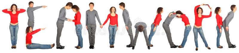 Man and woman making word teamwork royalty free stock photo