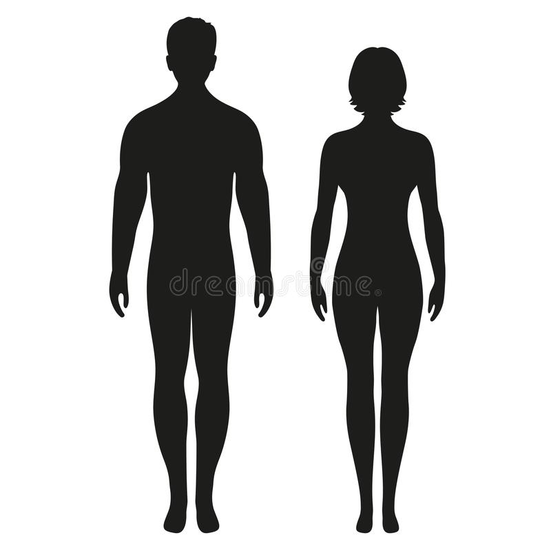 Man, woman, male, female human body flat icon for app and website royalty free stock photo