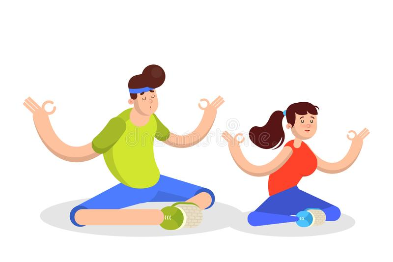 Man and woman meditate in lotus pose. Character couple royalty free illustration