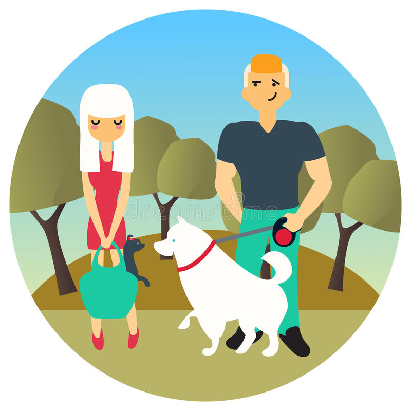 Man and woman met in a park while walking out dogs. Vector cartoon people characters in flat style design. Cute dogs stock illustration