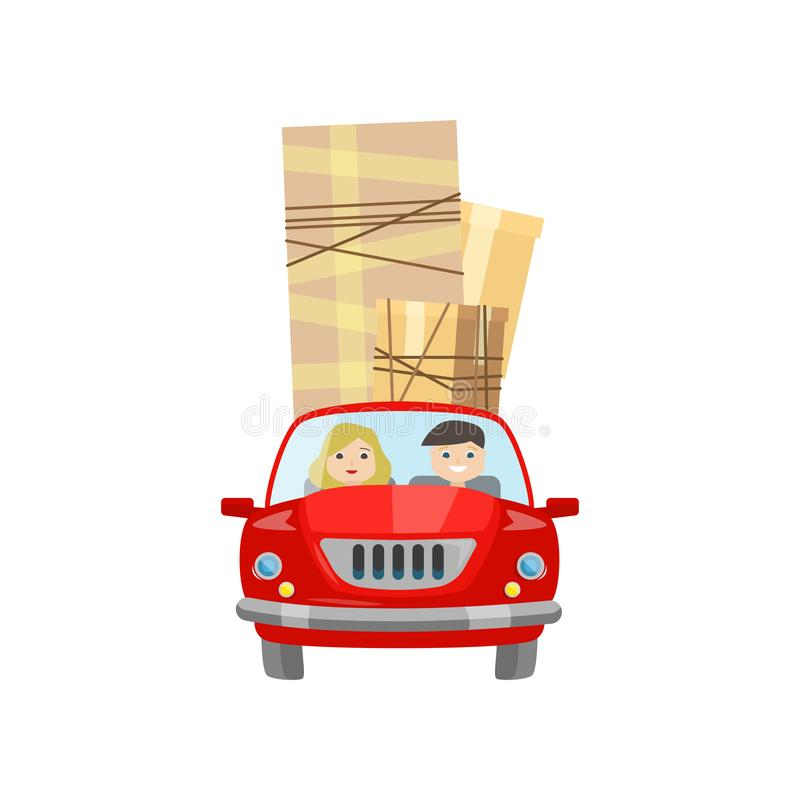 Man and woman move to a new place in a car stock illustration