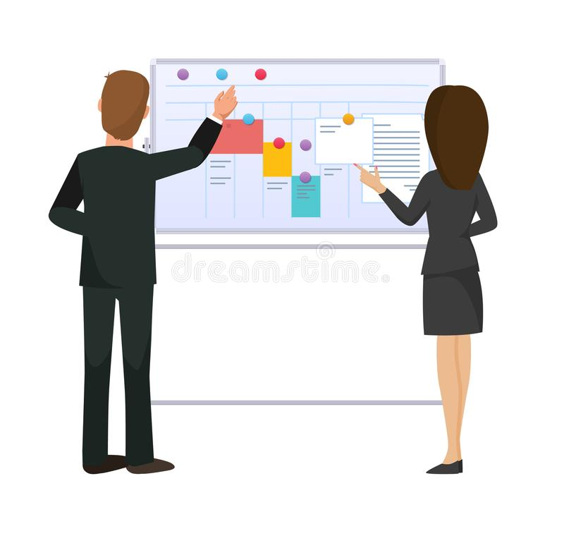 Colleagues man, woman, next to magnetic board with tasks, goals. royalty free illustration