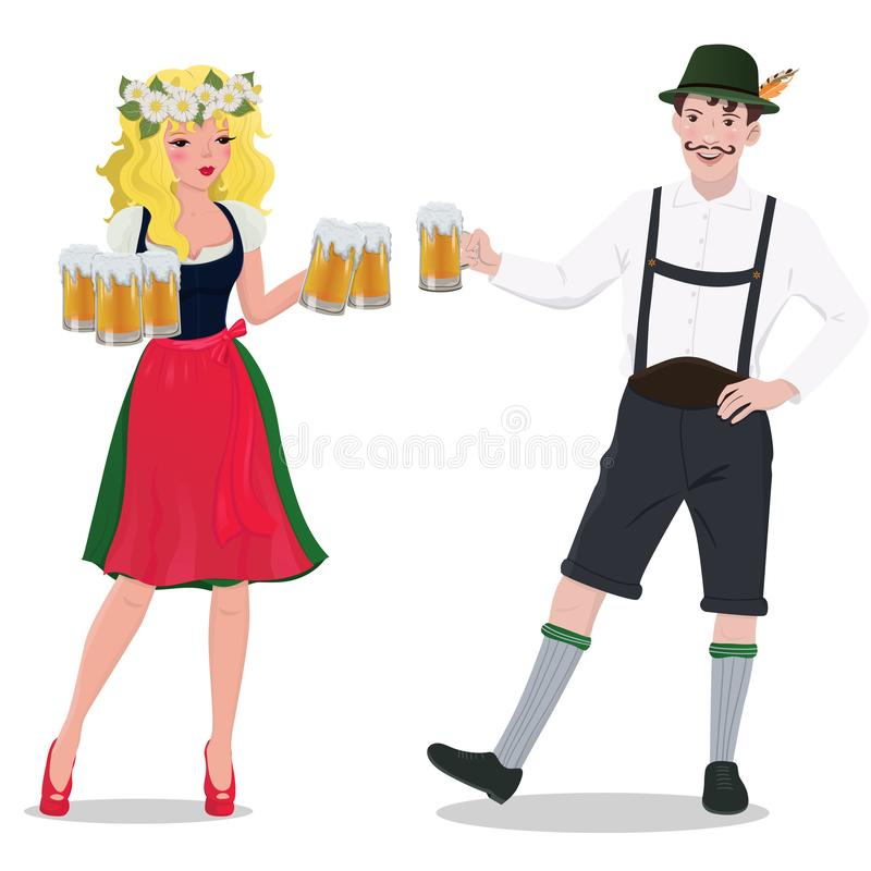 A man and a woman in Oktoberfest suits. Isolated on white background. Vector graphics vector illustration