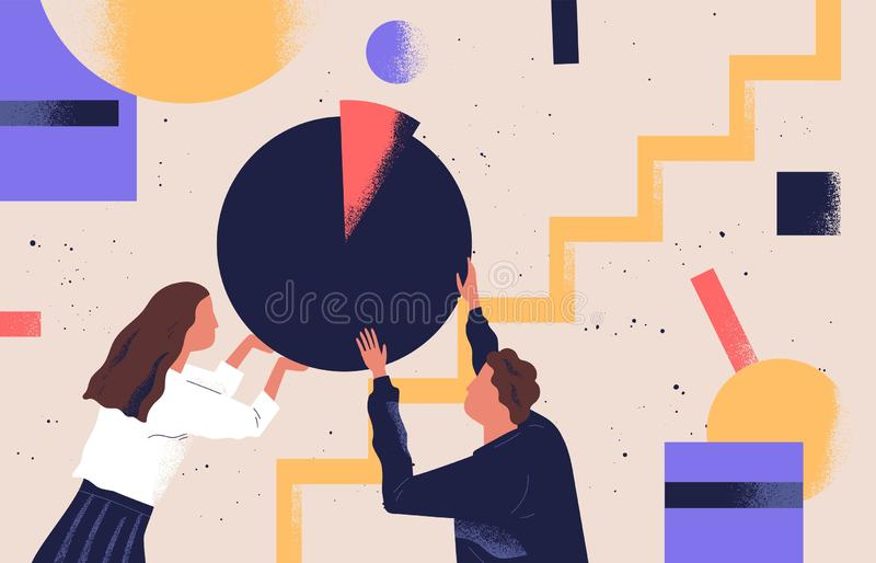 Man and woman organizing abstract geometric shapes. Pair of people holding round pie chart. Cute funny boy, girl and royalty free illustration