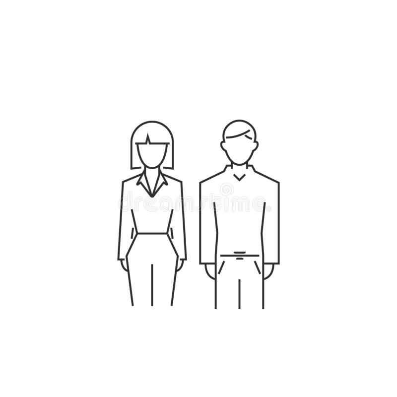 man and woman outline icon.  line style modern.  symbol royalty free illustration