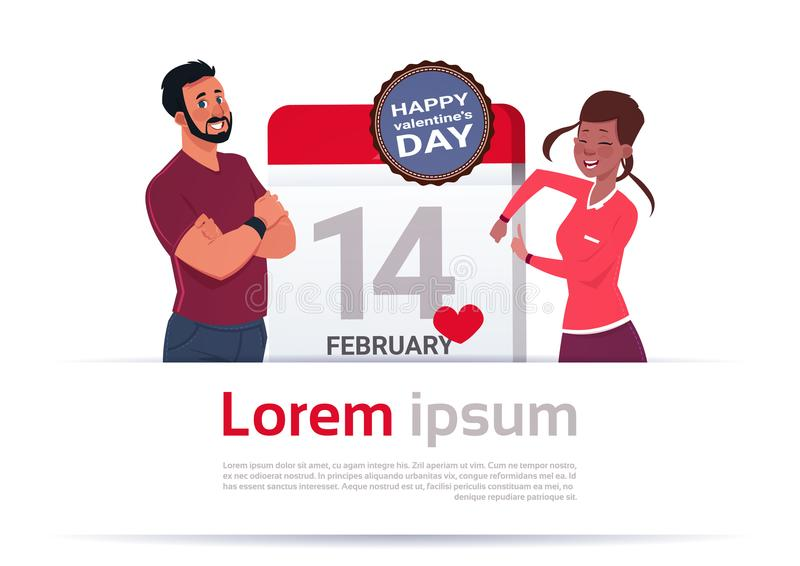 Man And Woman Over Calendar Day With 14 February Day Happy