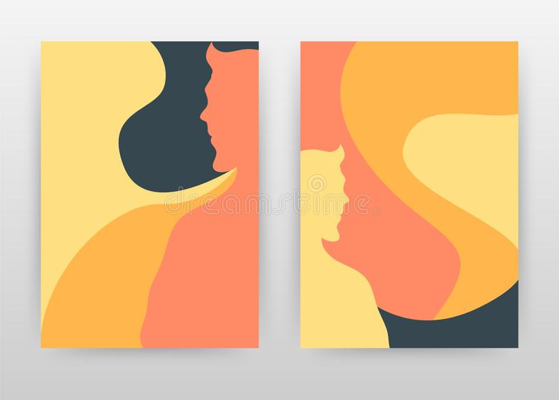 Man, woman paint art red yellow business design for annual report, brochure, flyer, poster. Boy or girl paint background vector royalty free illustration