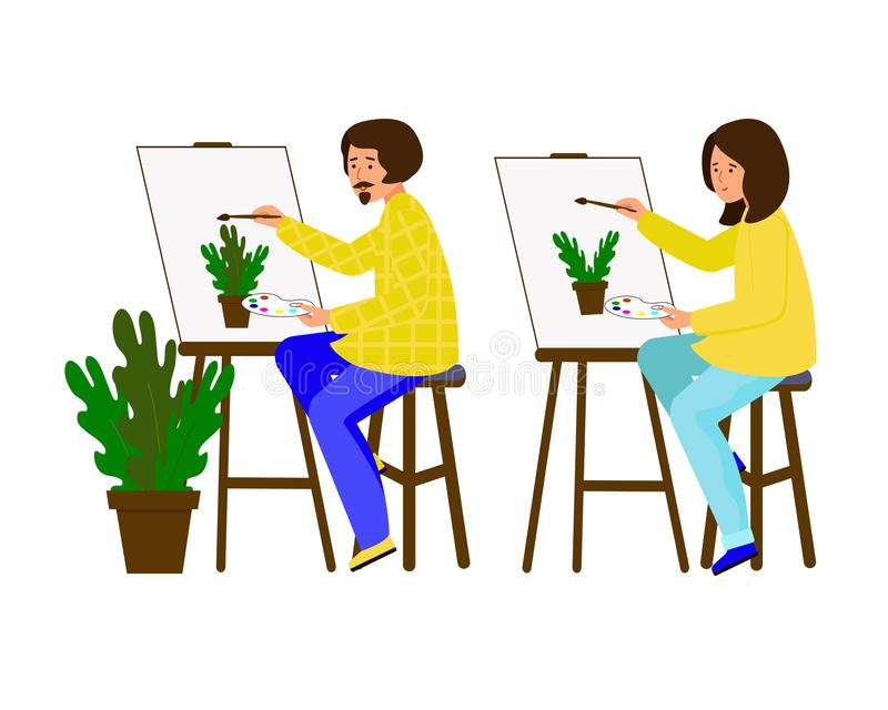 Man and woman painted on the canvas. Artists working on the painting. The guy and the girl shows a pot of flowers. stock illustration