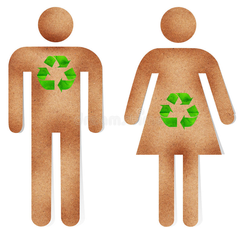 Download Man And Woman Paper Craft With Green Recycle Sign Stock Photo - Image: 26252258