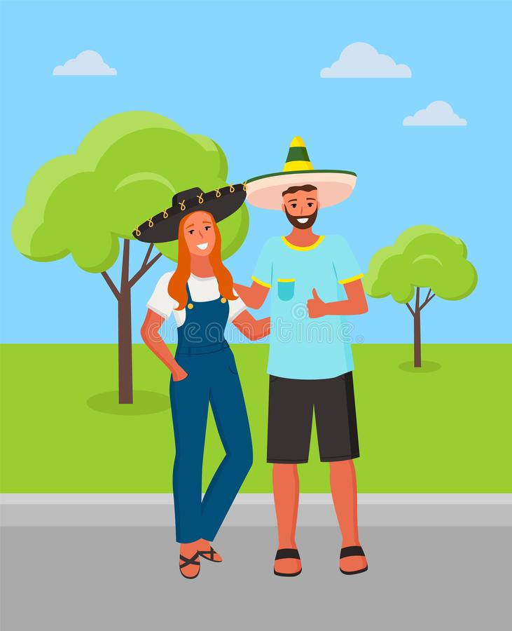 Mexican Man and Woman Wearing Sombrero Hat in Park stock illustration
