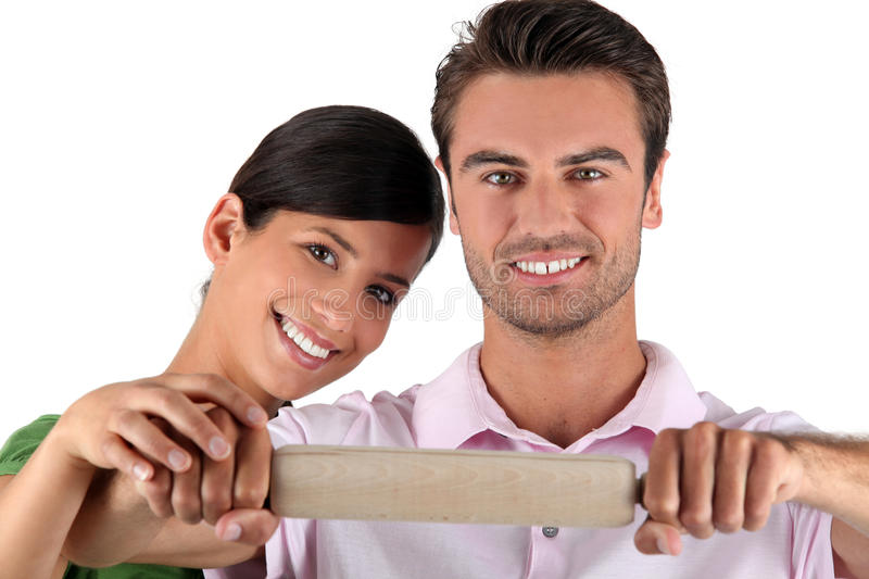 Man and woman with pastry royalty free stock image