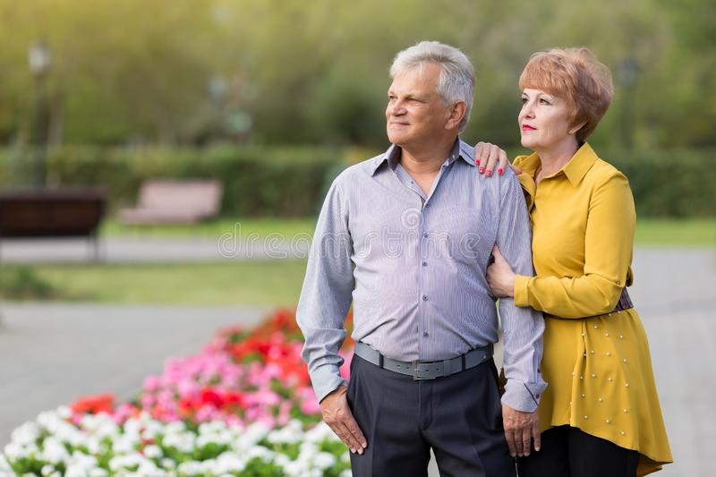 Loving seniors in the park. Man and woman pensioners gently hug each other in a city park stock images