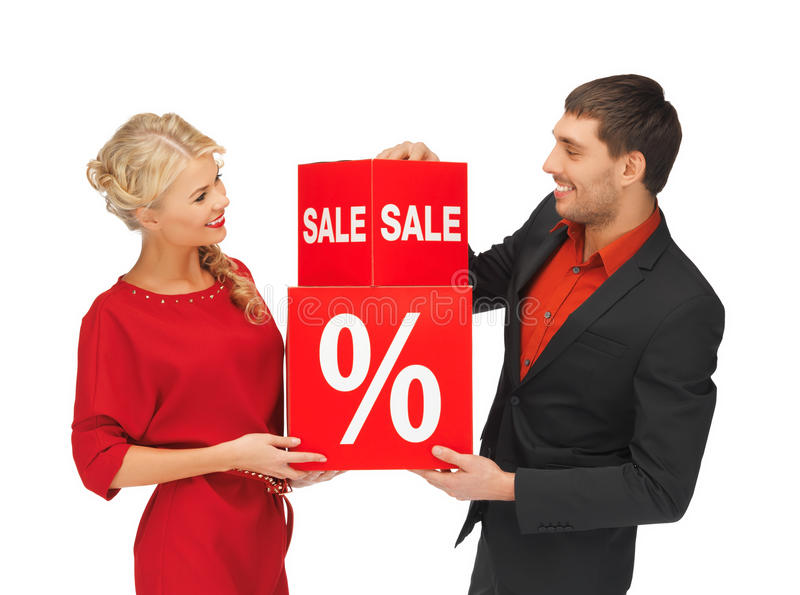 Man and woman with percent sign. Bright picture of men and women with percent sign royalty free stock image