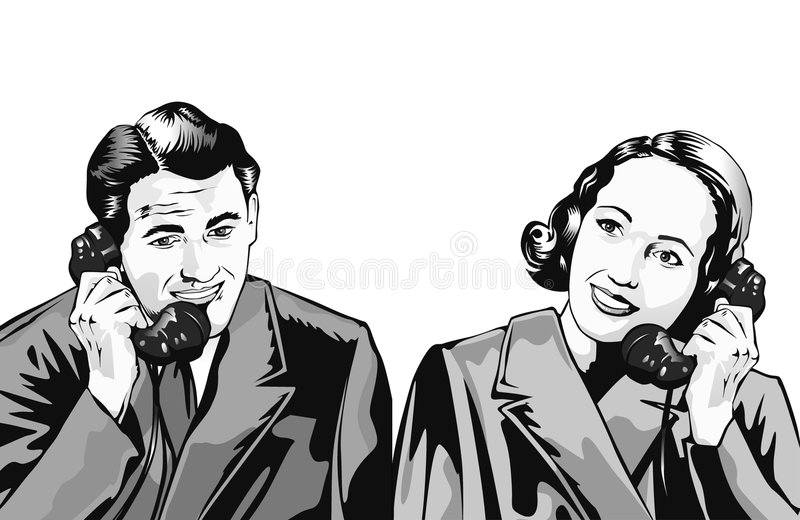 Man and woman on phone royalty free illustration