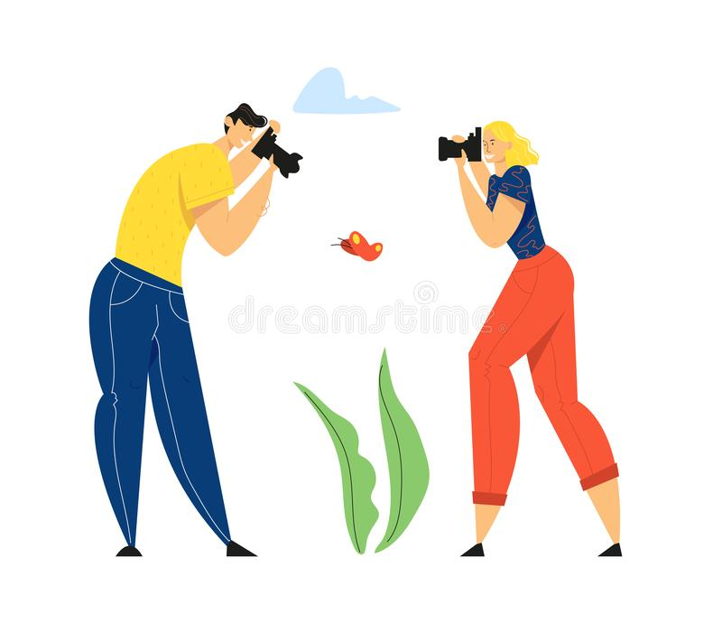 Man and Woman Photographers with Photo Camera Making Picture of Butterfly. Creative Hobby, Traveling stock illustration