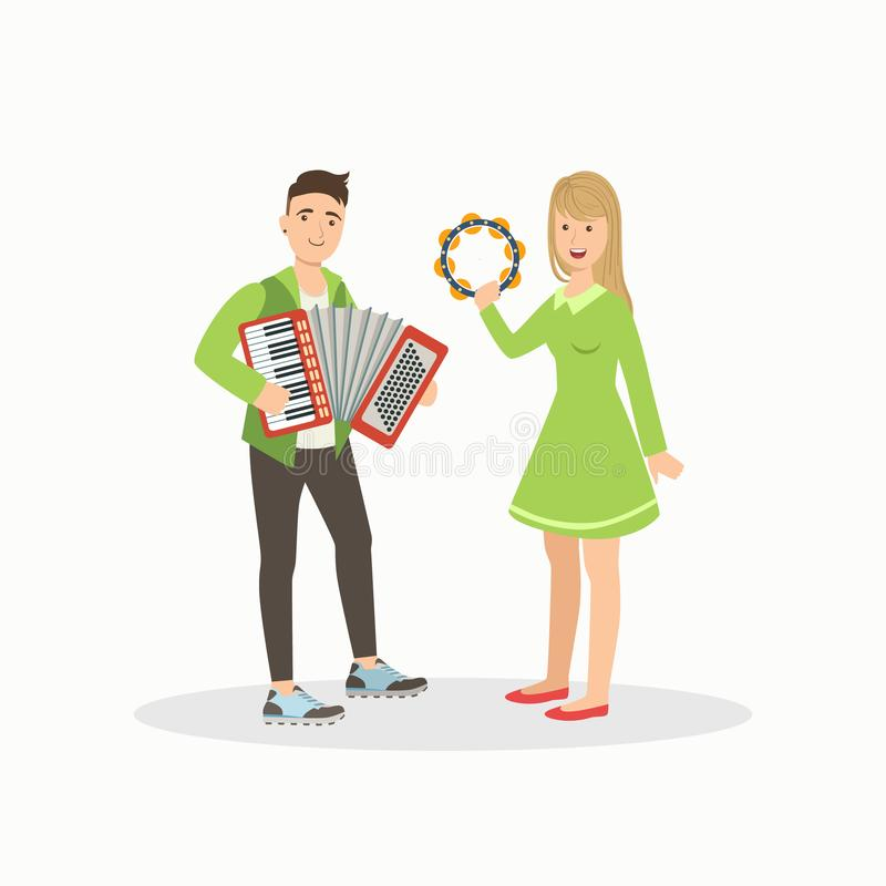 Man and Woman Playing Accordion and Tambourine, People Performing at Concert or Music Festival Vector Illustration. On White Background royalty free illustration