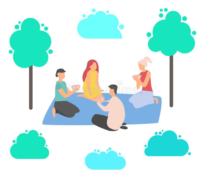 Man and Woman Playing Card on Mat, Leisure Vector. Friends characters playing cards, people sitting on mat, bush and tree decoration elements on white, man and royalty free illustration
