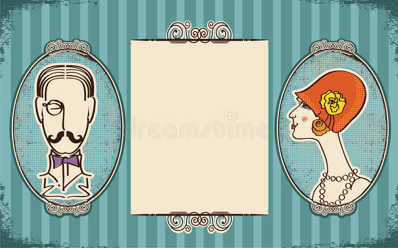 Download Man And Woman Portraits.Retro Stock Vector - Illustration of gentleman, mouth: 23708093
