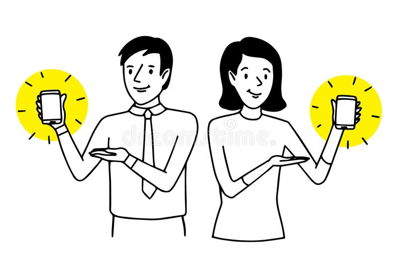 Man and woman presenting smartphones. Two people showing mobile phones. Lifestyle situation. Vector isolated outline illustration.  royalty free illustration