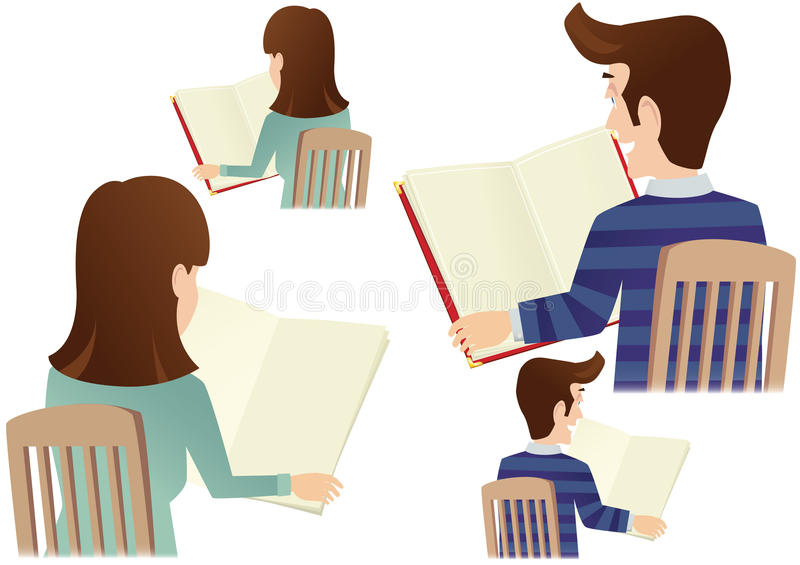 Man and woman reading. Four different illustrations of both a man a a woman reading from menu cards. Menu cards are blank for your own message. E.P.S. 10 vector stock illustration