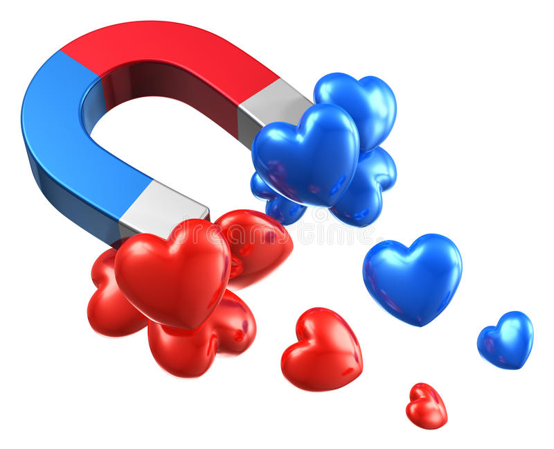 Man and woman relationship concept. Creative abstract man and woman relationship concept: horseshoe magnet with red and blue hearts isolated on white background stock illustration