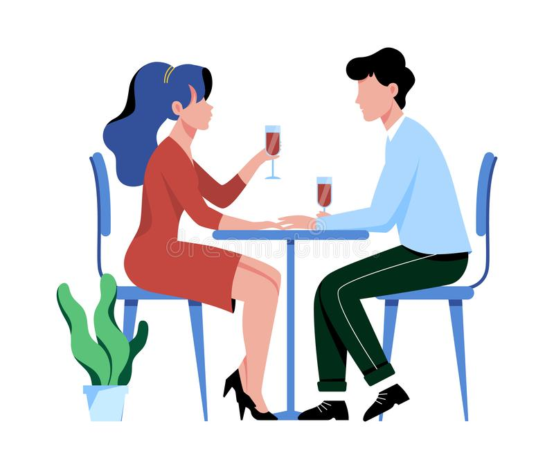Man and woman in restaurant on the romantic date. Couple in love. People sitting at the table with a glass of wine. Romance relationship. Isolated flat vector stock illustration