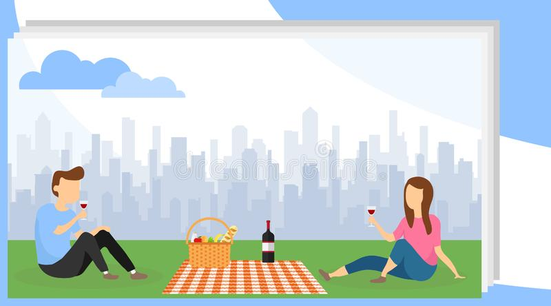 A man and a woman are resting in the park on the lawn. A man with a woman picnic in the park and drink wine against the. Backdrop of the urban landscape. Vector stock illustration