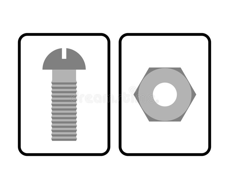 Man and Woman restroom sign. Toilet sign bolt and nut. Humorous royalty free illustration