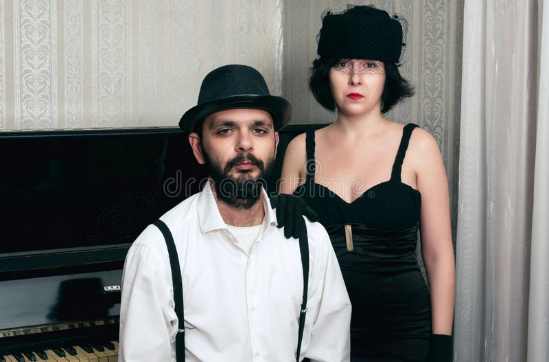 Man and the woman retro stock image