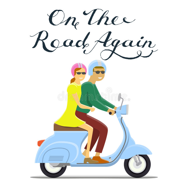 Man and woman riding on the motorbike. on the road again lettering royalty free illustration