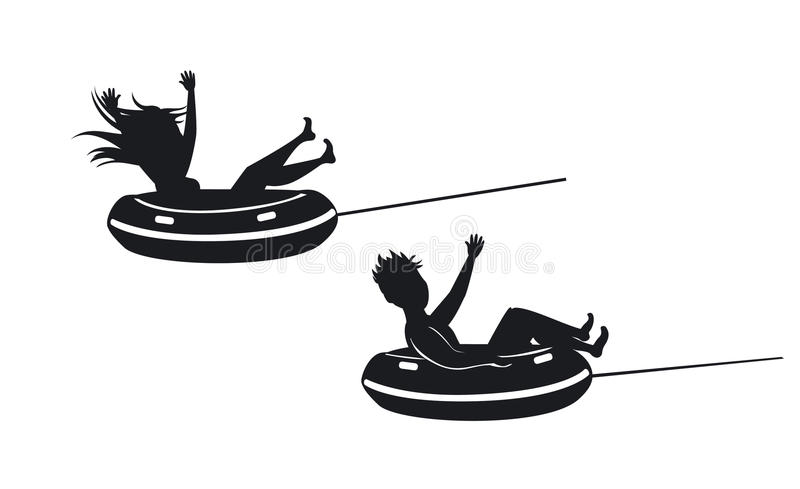 Man and woman riding tube silhouettes stock illustration