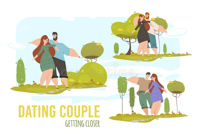 Man and Woman Romantic Relations, Love Set Banner. Man and Woman Romantic Relations, Love. Young Loving Couple Dating Getting Closer in City Park at Summertime royalty free illustration