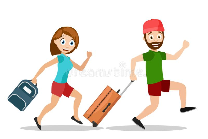 Man and a woman run with suitcases on vacation, on a white background. A man and a woman run with suitcases on vacation on a white background vector illustration