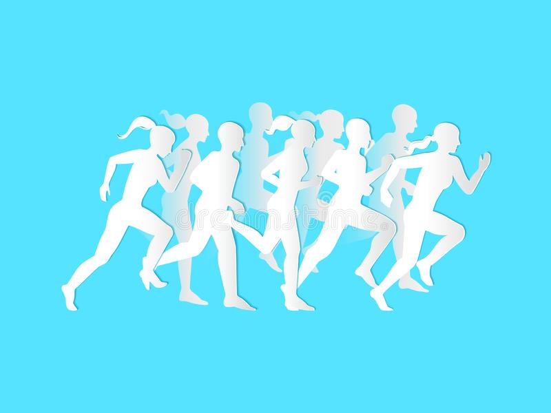 Man & Woman running. Set of silhouettes of running men and women. Vector. stock illustration