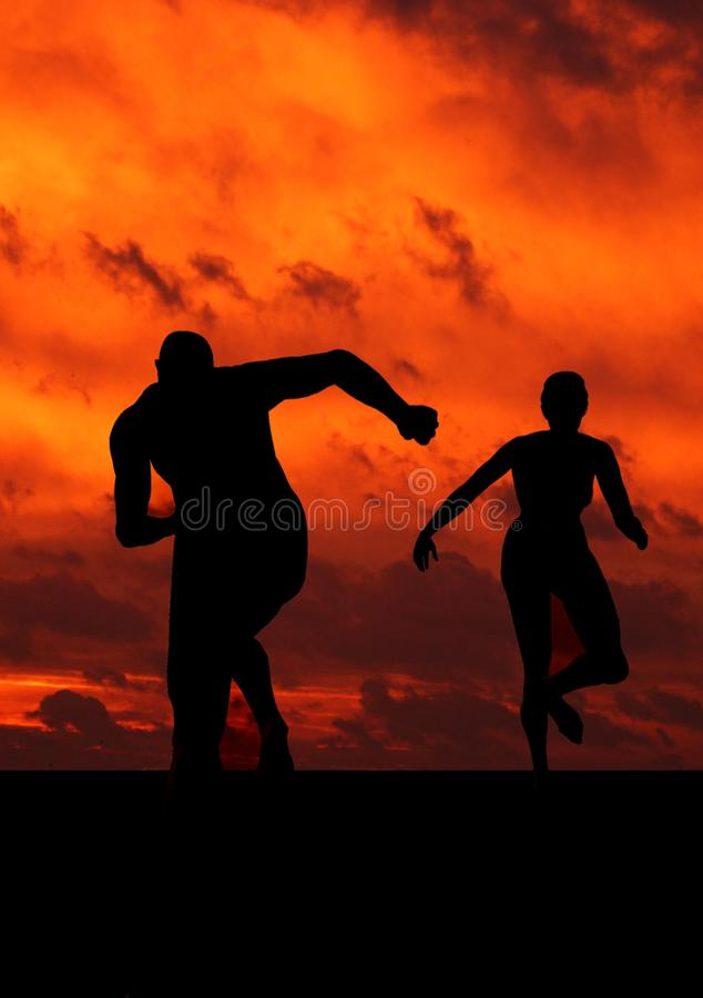 Man And Woman Running Silhouette Free Public Domain Cc0 Image