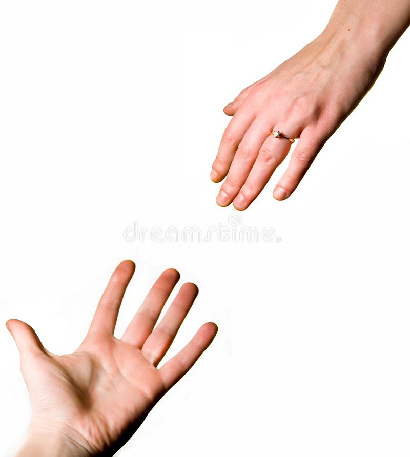 Man and woman's hands stock photos
