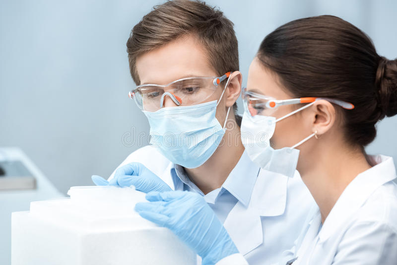 Man and woman scientists in protective glasses and masks making experiment. Young men and women scientists in protective glasses and masks making experiment royalty free stock photos