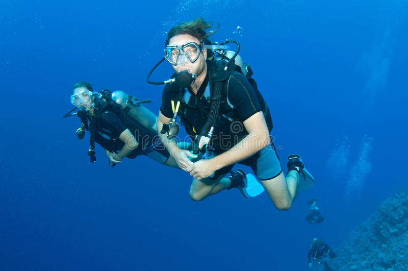 Download Man And Woman Scuba Dive Togeather Stock Image - Image: 24556867