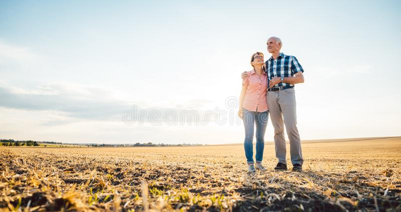 Man and woman, a senior couple, embracing each other royalty free stock photos