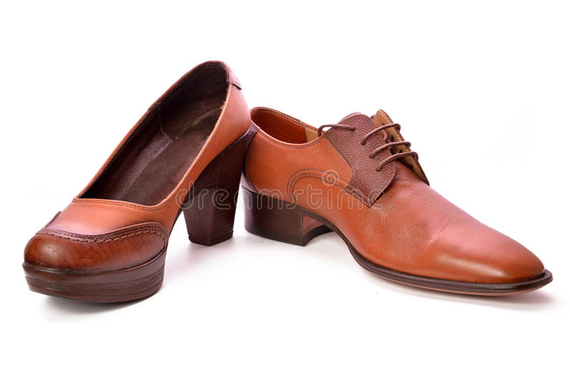 Man and woman shoes stock photography