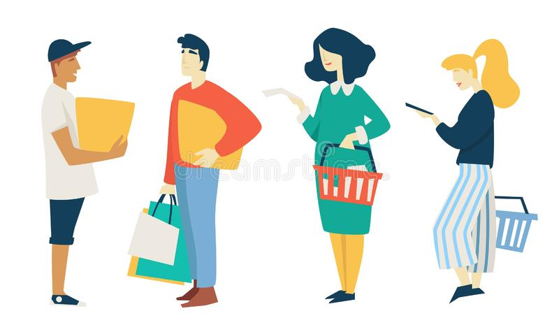 Man and woman shopping bags and box supermarket basket. Shopping man with packs or bags guy with box women holding supermarket basket vector isolated characters royalty free illustration