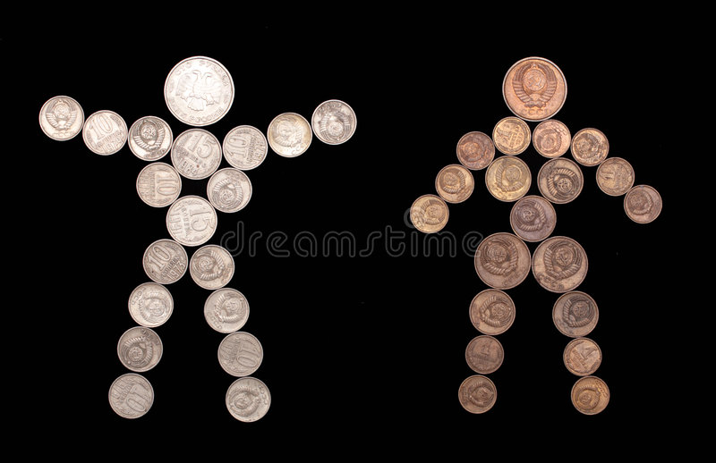 Man and woman silhouette of coins royalty free stock photo
