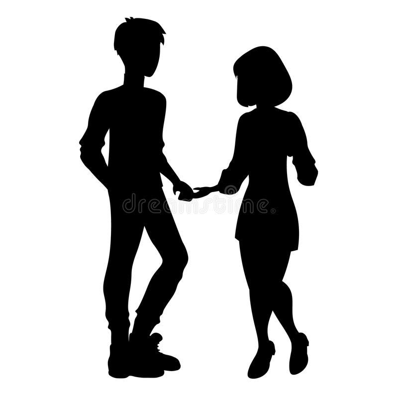Man and woman silhouette royalty free illustration
