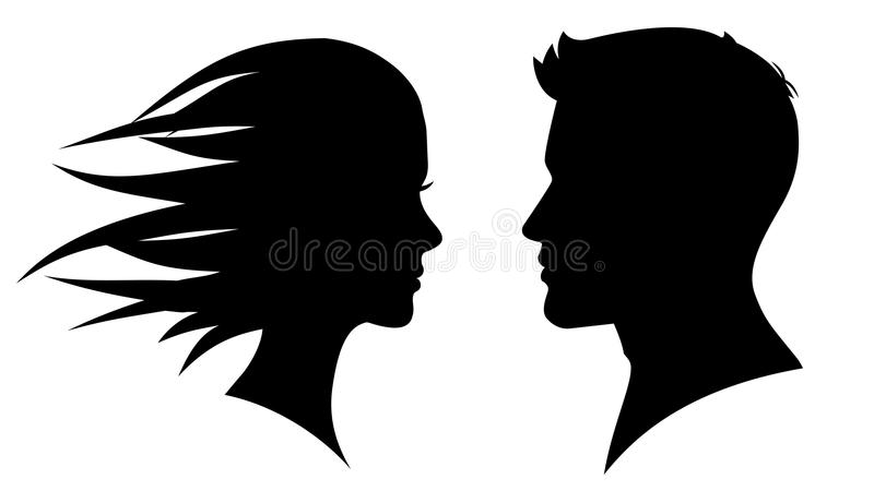 Man and woman silhouette face to face. – for stock stock illustration