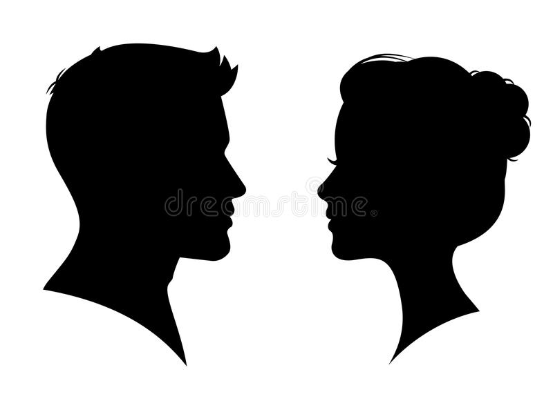 Man and woman silhouette face to face. – vector stock illustration