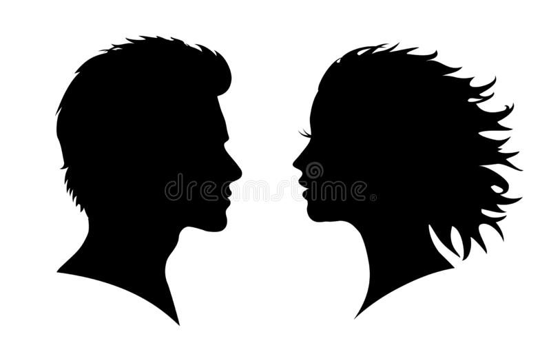 Man And Woman Silhouette Face To Face For Stock Stock Vector Illustration Of March Illustration 131960444