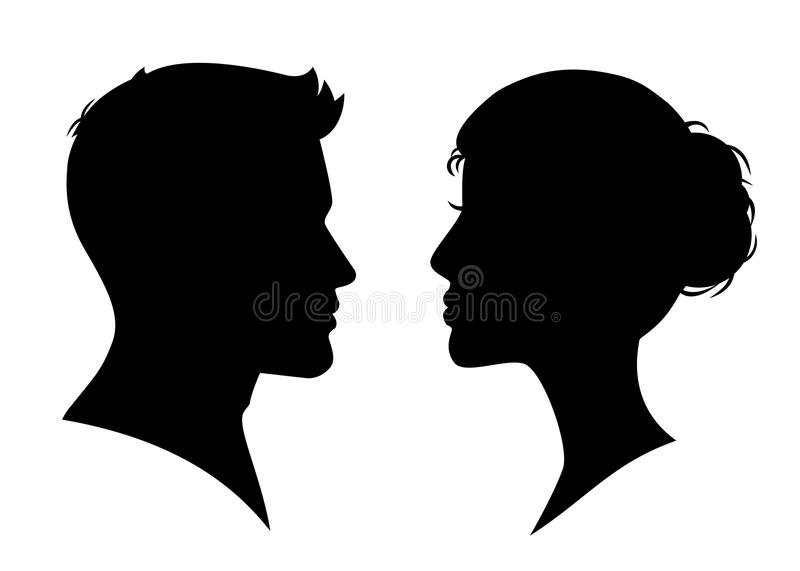 Man and woman silhouette face to face - vector royalty free illustration