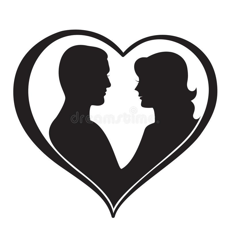 Man and Woman Silhouette in Heart Shape royalty free illustration