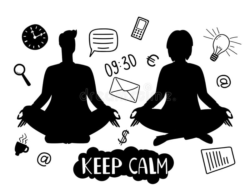 Man and woman silhouettes, meditation and keep calm vector concept with business line icons royalty free illustration